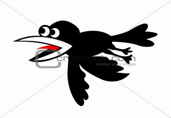 vector silhouette flying ravens on white background