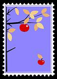 apple on branch on postage stamps. vector