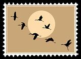 vector silhouette flying cranes on postage stamps