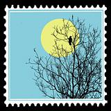 vector silhouette ravens on tree on postage stamps