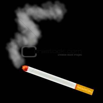 Image 3794667: Smoking cigarette on black background from ...