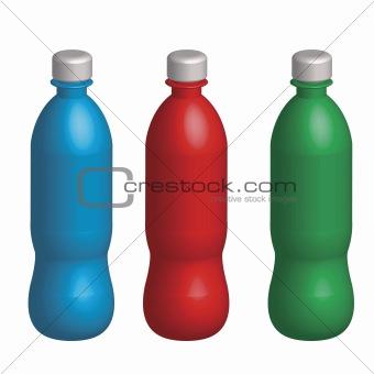 Three plastic varicoloured bottles