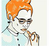 Pop Art Young woman taking a pill. Closeup.