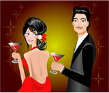 Couple enjoying drink in party Man and woman at disco club