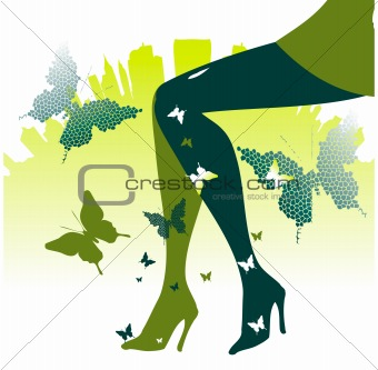 Fashion legs urban nature background