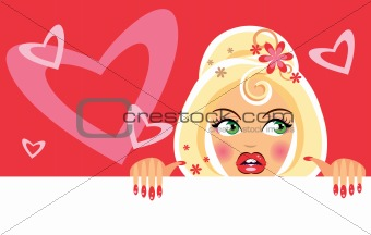 Valentine Girl with blank and hearts background