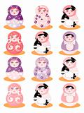 Cartoon Russian Doll icon Matreshka
