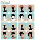 Vector set of closeup silhouette avatars of beautiful woman with