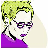 Pop Art Woman comic book style with dot