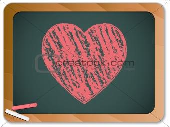 Blackboard with Heart  written with Chalk