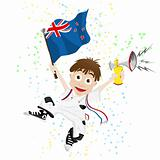New Zealand Sport Fan with Flag and Horn