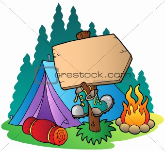 Camping wooden sign near tent