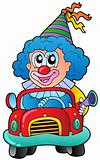 Cartoon clown driving car