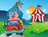 Cartoon clown in car near tent