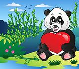 Cartoon panda holding heart outdoor