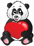 Cartoon panda holding red heart