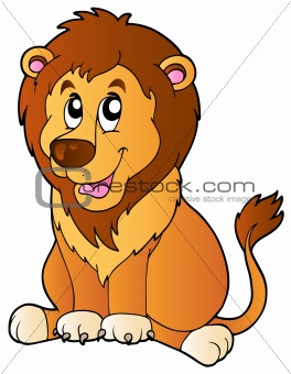 Cartoon sitting lion
