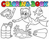 Coloring book with diving theme