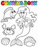 Coloring book with mermaid