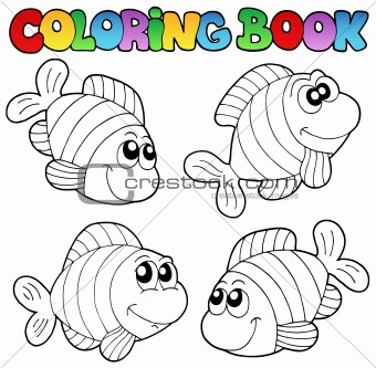 Coloring book with striped fishes