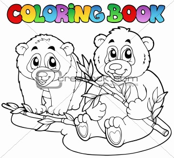 Coloring book with two pandas