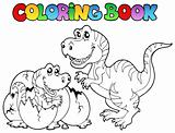 Coloring book with tyrannosaurus