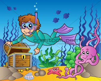 Diver exploring treasure in sea