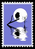 vector silhouette of the bird on postage stamps