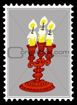 old candlestick on postage stamps. vector