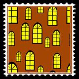 home window on postage stamps. vector
