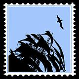 vector silhouette sailfish on postage stamp