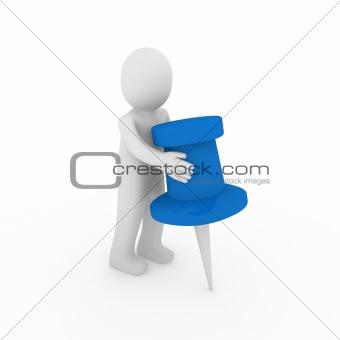 3d human man blue tack