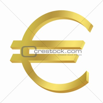 Gold Euro sign or symbol