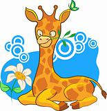 Cartoon illustration giraffe with scarf