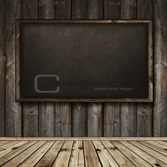 blackboard in wooden interior