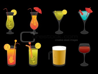 Alcoholic drinks, beer and wine