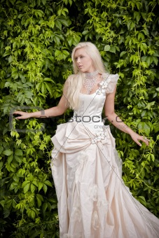 blond bride in luxury clothes