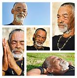 Senior African man - collage with different portraits.