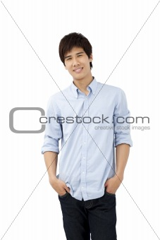 Portrait of smiling happy young man isolated on white