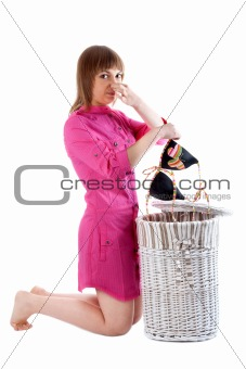Girl takes out of basket for linen bra