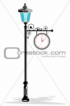 clock in pole lamp