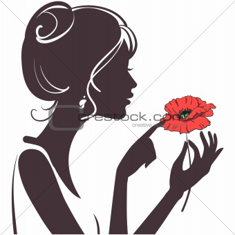 beauty girl silhouette with red poppy