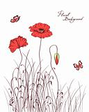red poppy & grass silhouettes background vector illustration