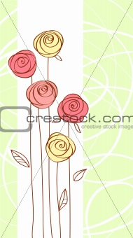 greeting card with red color rose flower