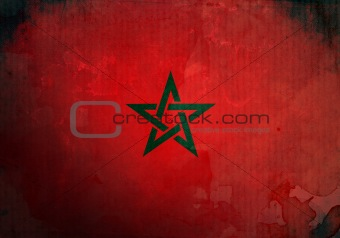 Grunge Morocco Flag
