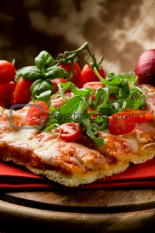 Pizza Arugula and Cherry Tomatoes