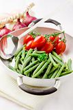 French Beans inside a pan