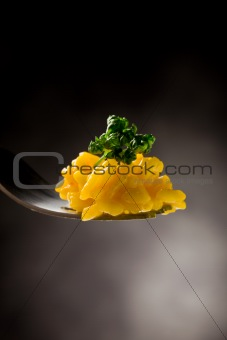 Fork with risotto with saffron