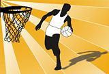 Silhouette of a basketball player, playing a game