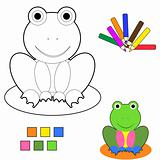 coloring book sketch : frog